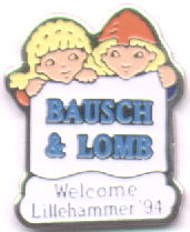 Top 3 flag Bausch & Lomb with mascots Kristin and Håkon
